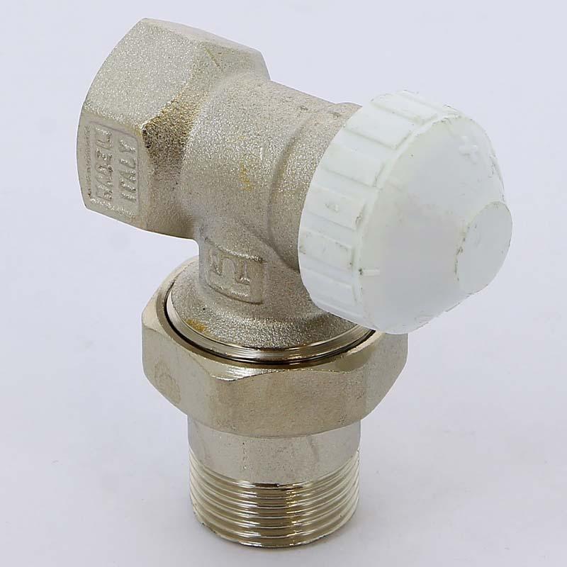 """Вентиль НВ угловой для радиаторов термостатический 3308 с разъемным соединением TIEMME 3/4"""" под стальные трубы с крышкой"""