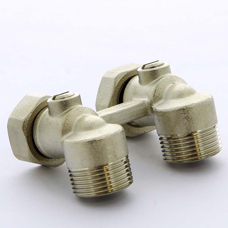 """Узел радиаторный угловой со встроенными кранами с разъемным соединением для двухтрубной системы TIEMME 3/4""""х3/4""""х18"""