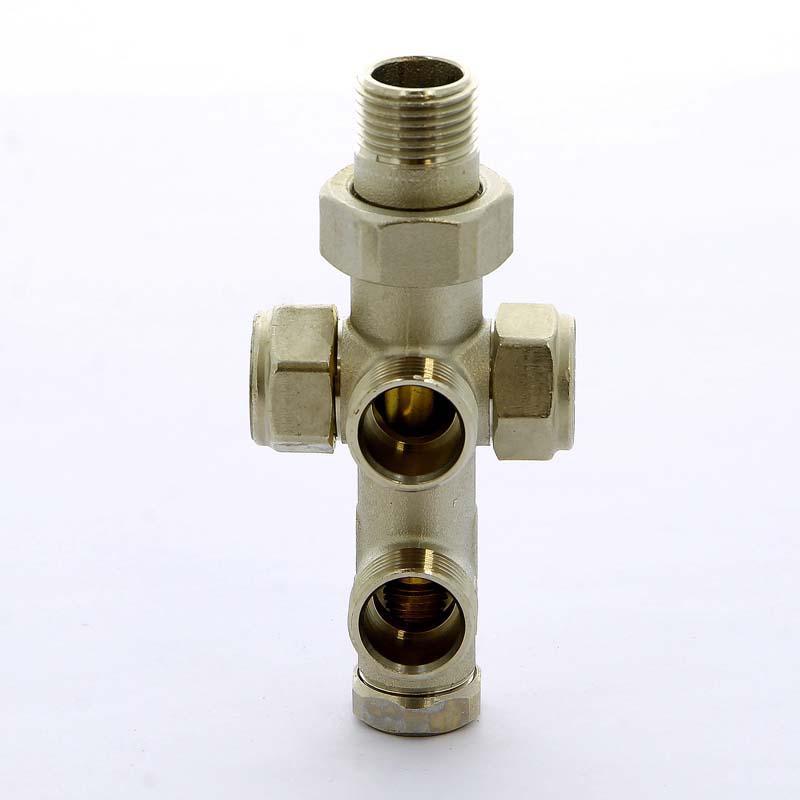 """Узел радиаторный обжим-НН с разъемным соединением для двухтрубной системы разводки в стену TIEMME 1/2""""-M24х19"""