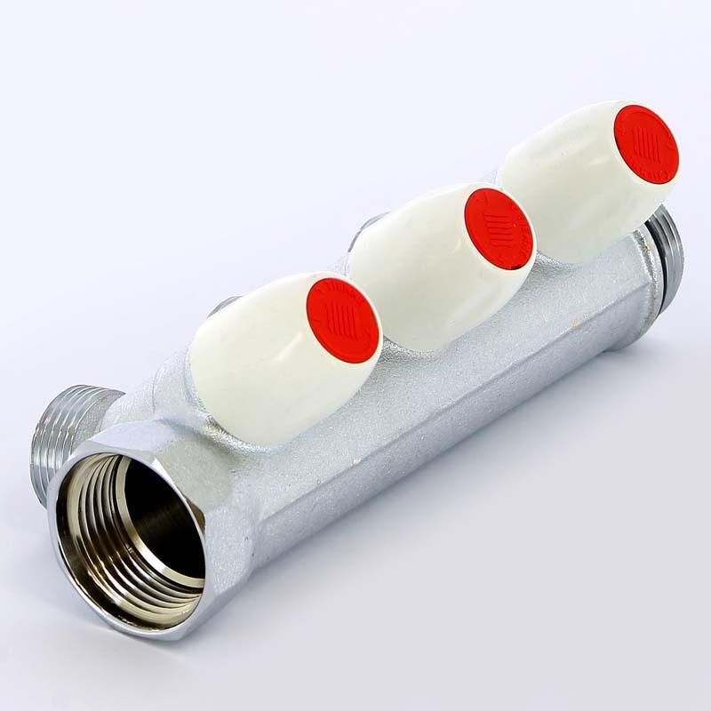 Коллектор НВ 1' с вентилями хромированный TIEMME 3 выхода 3/4'ЕК 50мм