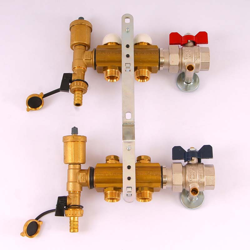 """Коллекторная группа с кронштейнами, регулировочными и термостатическими вентилями TIEMME 1""""x3/4""""ЕК 2 выхода"""