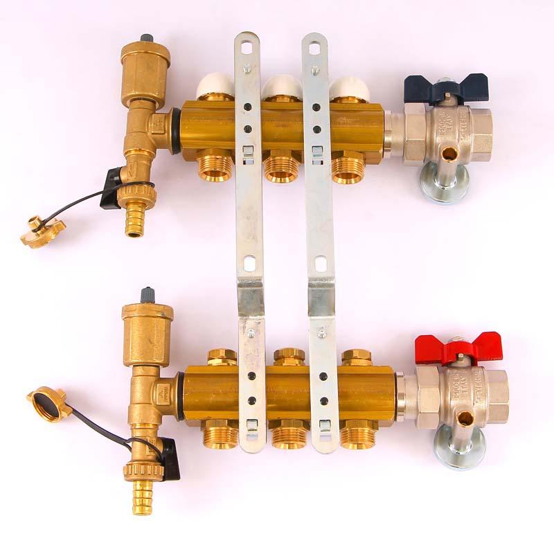 """Коллекторная группа с кронштейнами, регулировочными и термостатическими вентилями TIEMME 1""""x3/4""""ЕК 3 выхода"""