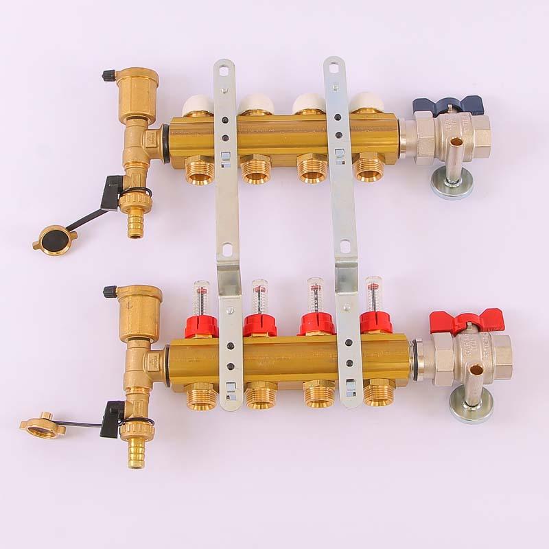 """Коллекторная группа с кронштейнами, регулировочными и термостатическими вентилями TIEMME 1""""x3/4""""ЕК 4 выхода"""