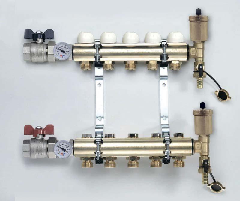 """Коллекторная группа с кронштейнами, регулировочными и термостатическими вентилями TIEMME 1""""x3/4""""ЕК 6 выходов"""
