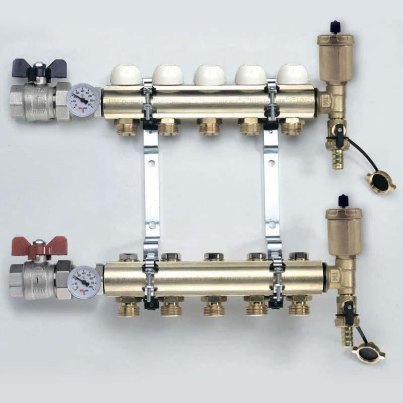 """Коллекторная группа с кронштейнами, регулировочными и термостатическими вентилями TIEMME 1""""x3/4""""ЕК 7 выходов"""