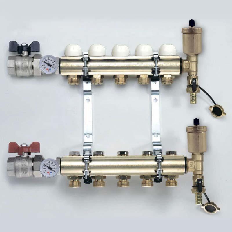 """Коллекторная группа с кронштейнами, регулировочными и термостатическими вентилями TIEMME 1""""x3/4""""ЕК 8 выходов"""