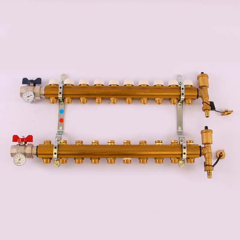 """Коллекторная группа с кронштейнами, регулировочными и термостатическими вентилями TIEMME 1""""x3/4""""ЕК 10 выходов"""
