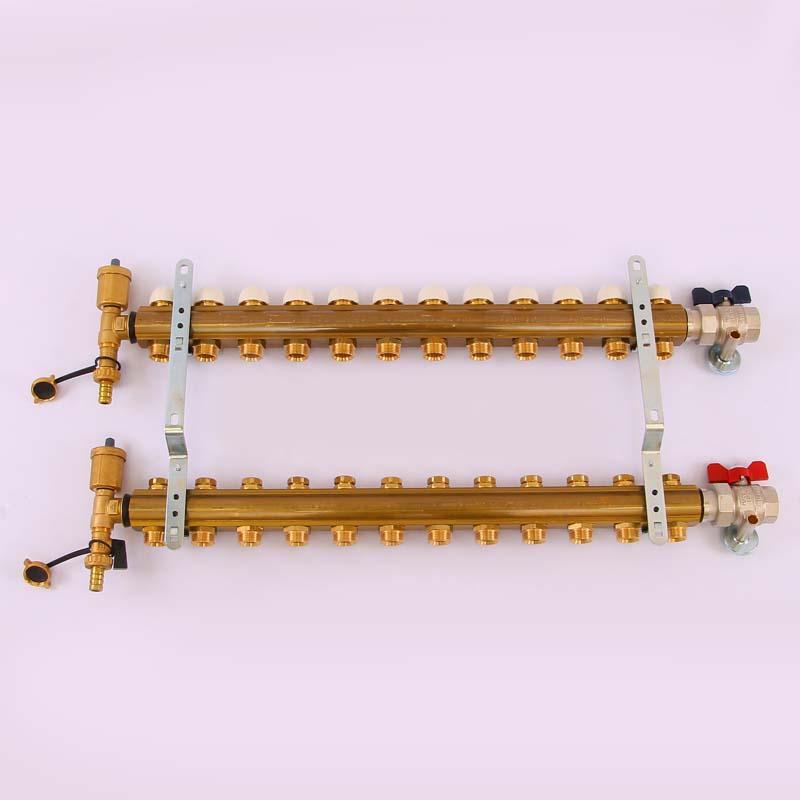"""Коллекторная группа с кронштейнами, регулировочными и термостатическими вентилями TIEMME 1""""x3/4""""ЕК 12 выходов"""