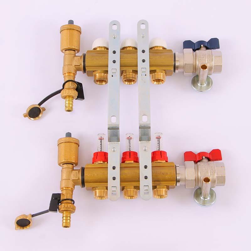 """Коллекторная группа с термостатическими вентилями и расходомерами TIEMME 1""""x3/4""""ЕК 3 выхода"""