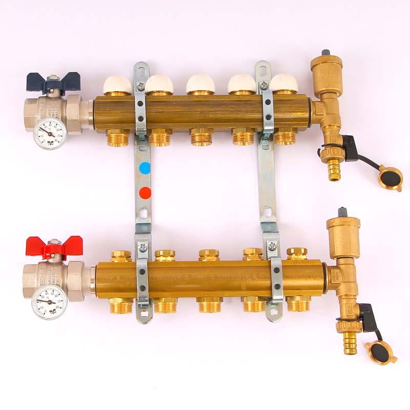 """Коллекторная группа с термостатическими вентилями и расходомерами TIEMME 1""""x3/4""""ЕК 4 выхода"""