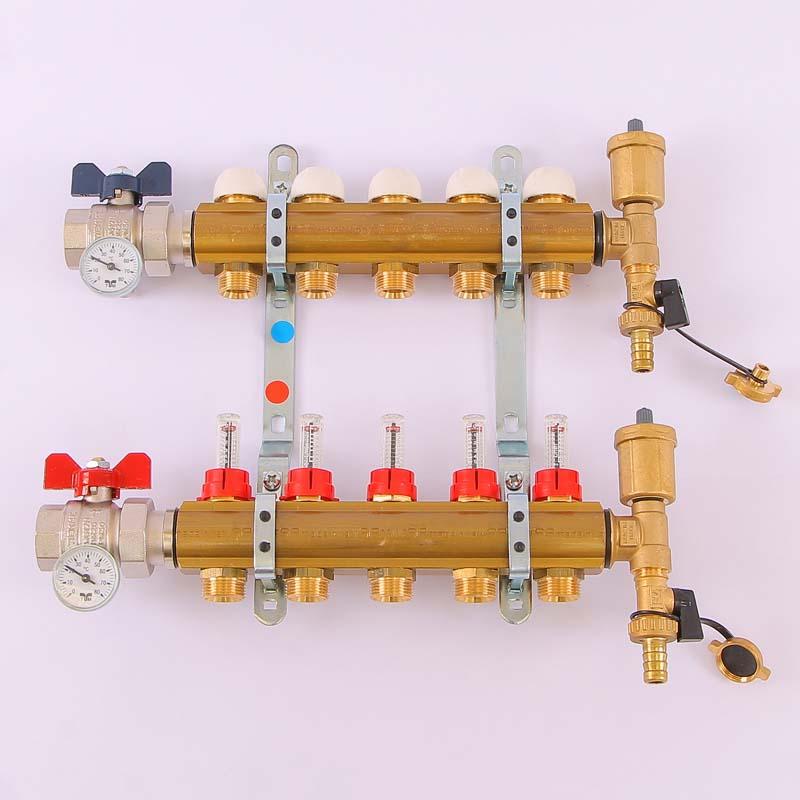 """Коллекторная группа с термостатическими вентилями и расходомерами TIEMME 1""""x3/4""""ЕК 5 выходов"""