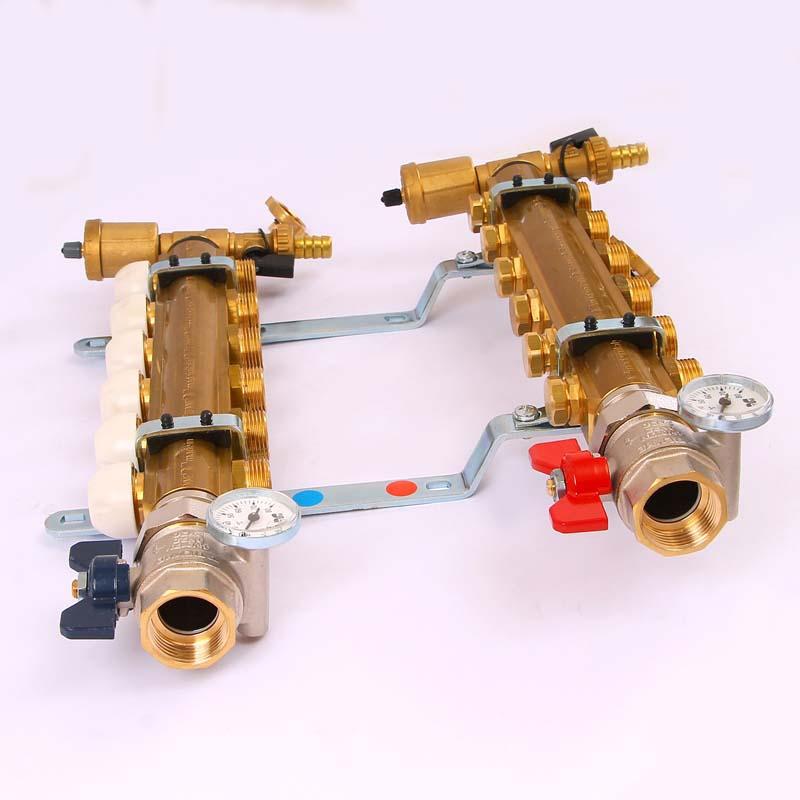 """Коллекторная группа с термостатическими вентилями и расходомерами TIEMME 1""""x3/4""""ЕК 6 выходов"""
