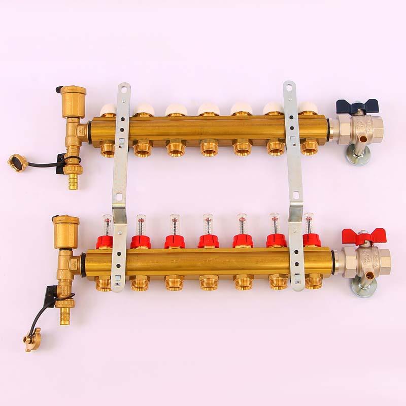 """Коллекторная группа с термостатическими вентилями и расходомерами TIEMME 1""""x3/4""""ЕК 7 выходов"""