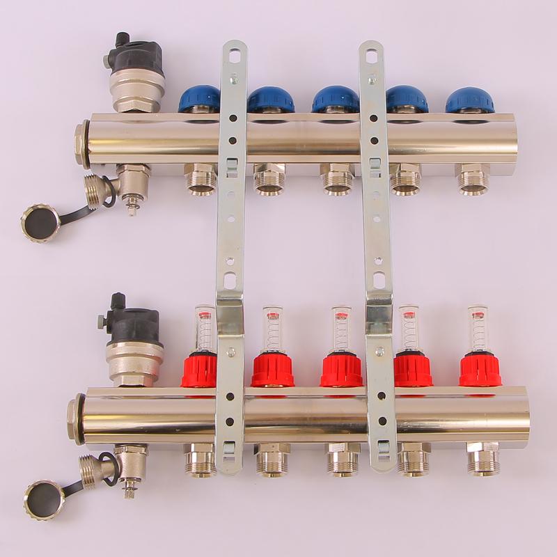 """Коллекторная группа TOPWAY с термостатическими вентилями и расходомерами с метрической резьбой EMMETI 1""""xM24x19 5 выходов"""