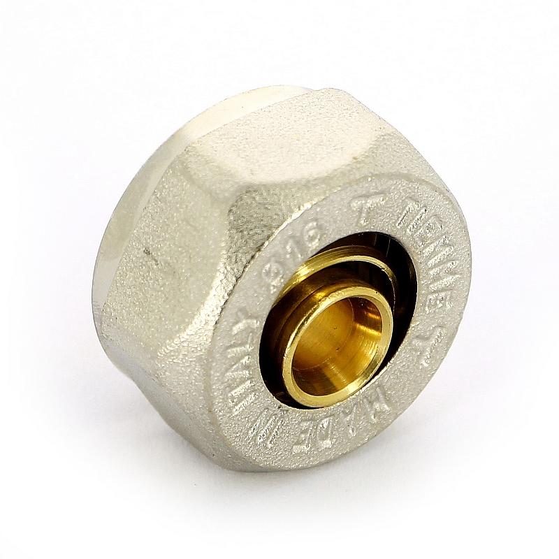 """Соединитель обжим-В никелированный евроконус для металлопластиковой трубы TIEMME 16(2,0)х3/4""""EK"""