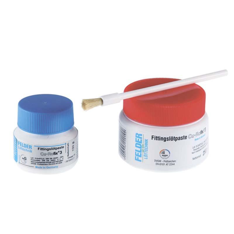 Флюс-паста с добавлением мягкого припоя Cu-Rofix®4-Spezial с держателями и стаканом для кисточки FELDER 250г