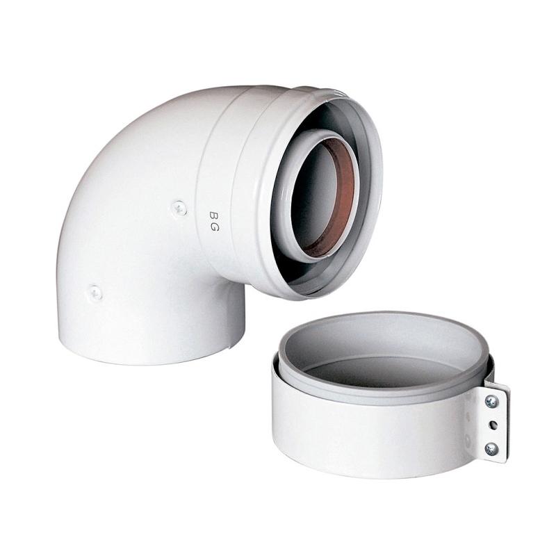 Отвод коаксиального дымоотвода BAXI 125/80 90 градусов