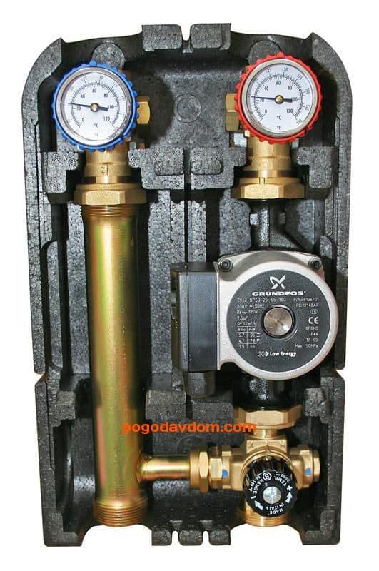 """Насосная группа с термостат смесит клапаном 1""""Grundfos UPSO25-65"""