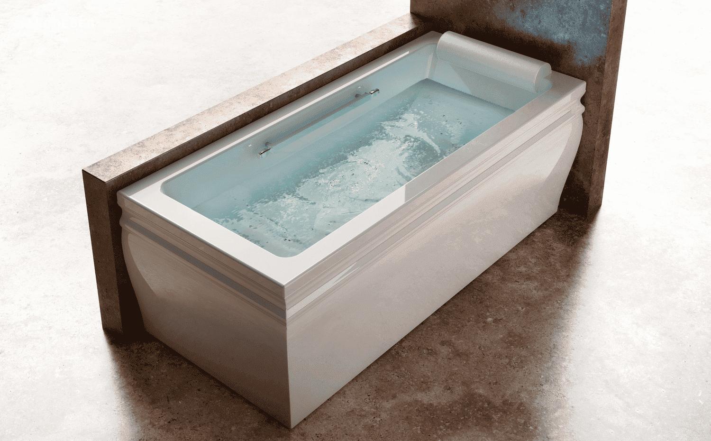 Ванна прямоугольная угловая BLANQUE (белая/золото)