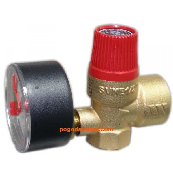 Клапан предохранительный с манометром SVM 2,5 атм. 1/2x3/4