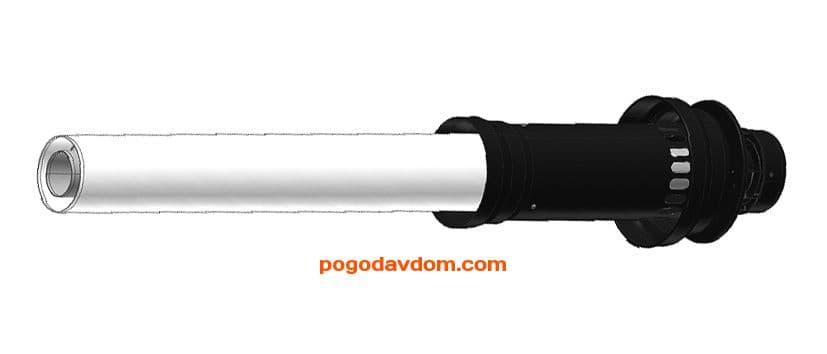 Вертикальный наконечник для коакс. трубы диам. 60/100 мм, общая длина 1150 мм, длина наконечника 500 мм - антиоблединительное исполнение