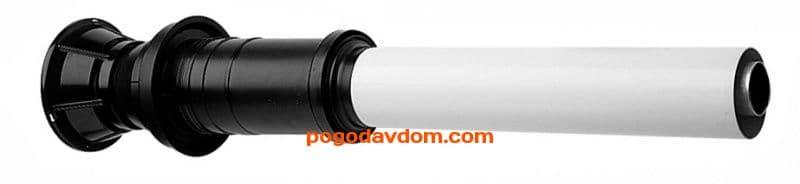Вертикальный наконечник для коакс. трубы полипропиленовый диам. 80/125 мм, общая длина 1155 мм, длина наконечника 262 мм - антиоблединительное исполнение