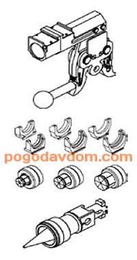 Набор инструментов для работы с диаметрами 40-63 мм.